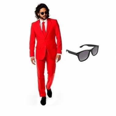 Verkleed rood net heren kostuum maat 52 (xl) met gratis zonnebrilcarn