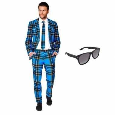 Verkleed schotse print heren kostuum maat 46 (s) met gratis zonnebril
