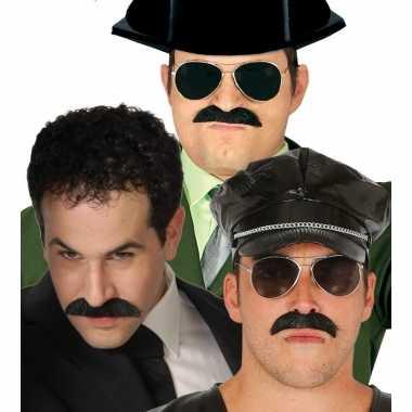Verkleed snor zwart pablo escobar carnavalskleding