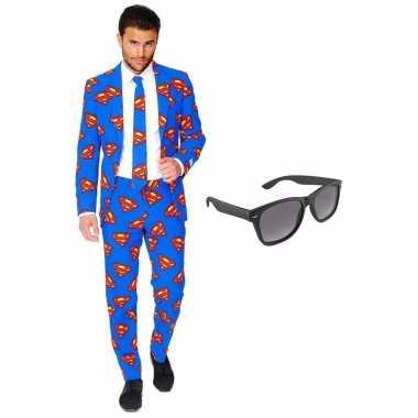 Verkleed superman net heren kostuum maat 54 (xxl) met gratis zonnebri