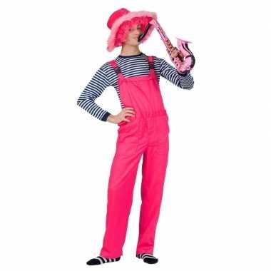 Verkleed tuinbroek neon roze voor volwassenencarnavalskleding