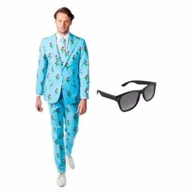 Verkleed tulpen print heren kostuum maat 50 (l) met gratis zonnebrilc