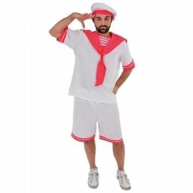 Verkleed wit/roze matrozen kostuum voor volwassenen gay pride themaca