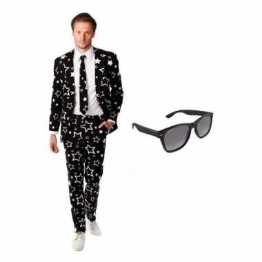 Verkleed zwart met sterren print heren kostuum maat 54 (2xl) met grat