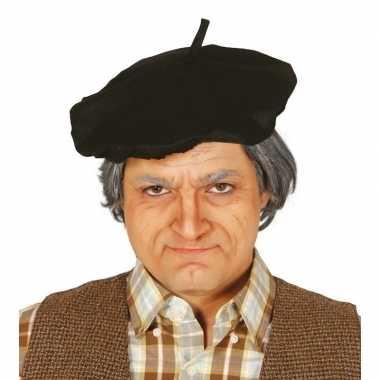 Verkleedaccessoire zwart frans baretje voor volwassenencarnavalskledi
