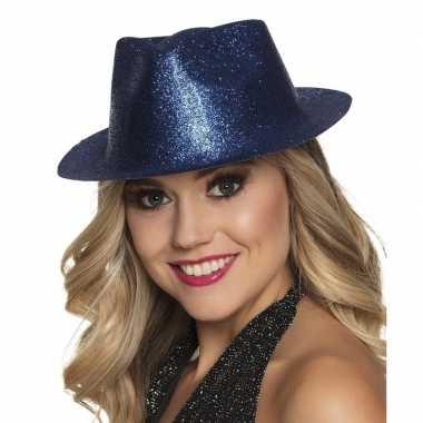 Verkleedaccessoires blauwe trilby hoed met glitterscarnavalskleding