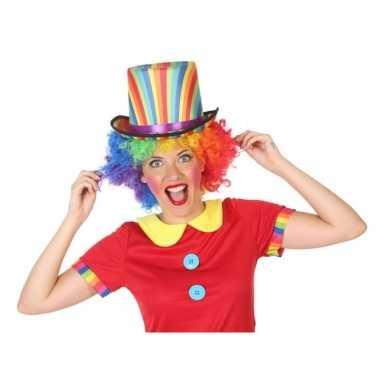 Verkleedaccessoires hoge hoed clown voor volwassenencarnavalskleding