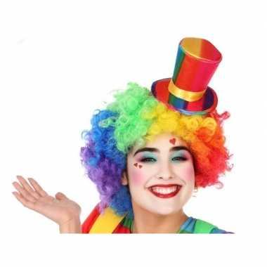 Verkleedaccessoires mini hoge hoed clown voor volwassenencarnavalskle