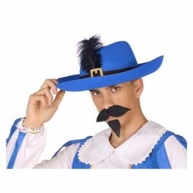 Verkleedaccessoires musketiershoed blauw voor herencarnavalskleding