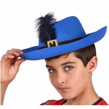 Verkleedaccessoires musketiershoed blauw voor kinderencarnavalskledin