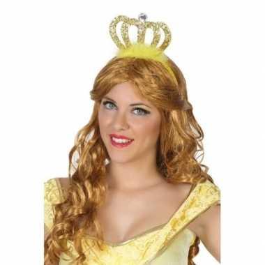 Verkleedaccessoires prinsessen diadeem goud voor damescarnavalskledin