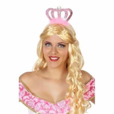 Verkleedaccessoires prinsessen diadeem roze voor damescarnavalskledin