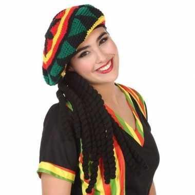 Verkleedaccessoires reggae/rasta muts met dreadlocks voor volwassenen