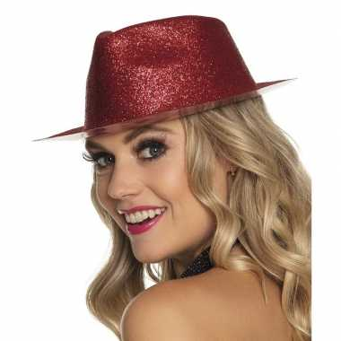 Verkleedaccessoires rode trilby hoed met glitterscarnavalskleding