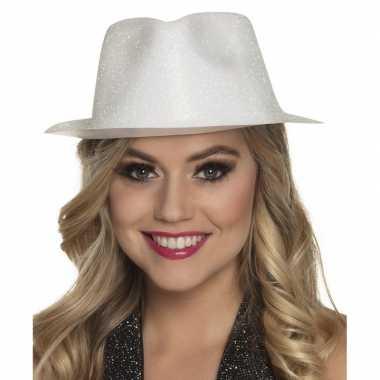 Verkleedaccessoires witte trilby hoed met glitterscarnavalskleding