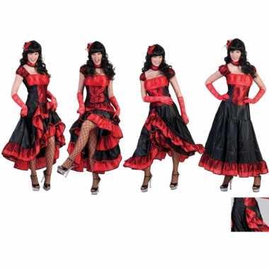 Verkleedkleding dansjurk rood met zwart carnavalskleding