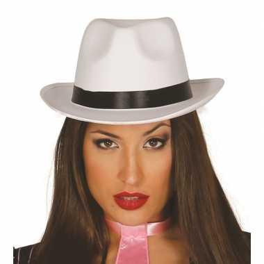 Verkleedkleding gangsterhoed wit van luxe kwaliteitcarnavalskleding