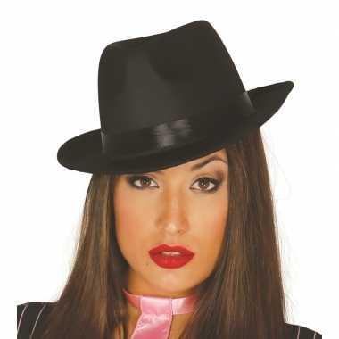 Verkleedkleding gangsterhoed zwart van luxe kwaliteitcarnavalskleding