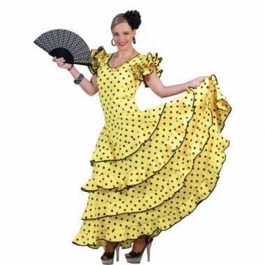 Verkleedkleding gele flamenco jurkcarnavalskleding