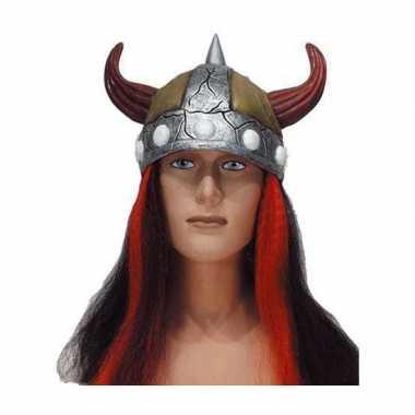Viking pruik met vikinghelmcarnavalskleding
