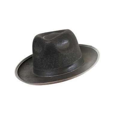 Vilten blues hoed zwartcarnavalskleding