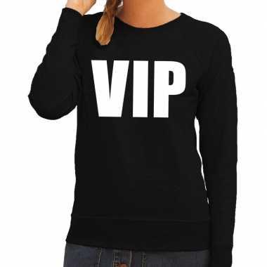 Vip tekst sweater / trui zwart voor damescarnavalskleding