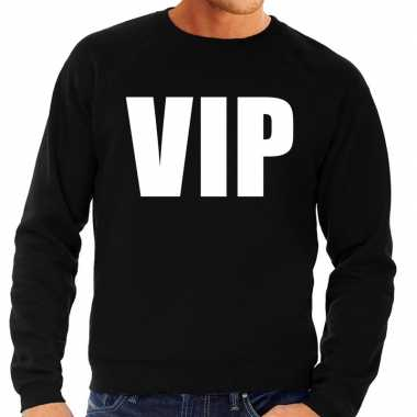 Vip tekst sweater / trui zwart voor herencarnavalskleding