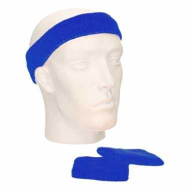 Voordeelset hoofdband en polsbandjes kobaltcarnavalskleding