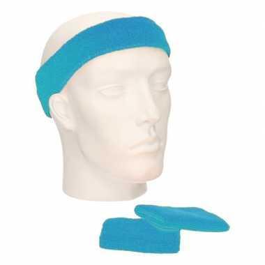 Voordeelset hoofdband en polsbandjes turquoisecarnavalskleding