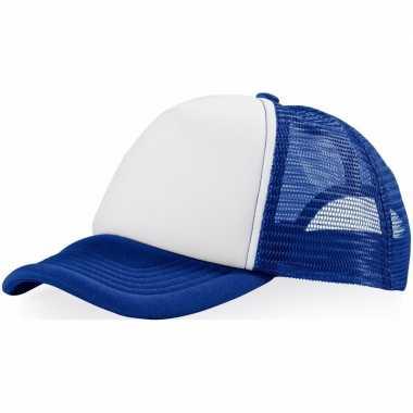 Voordelige baseballcap blauw/witcarnavalskleding