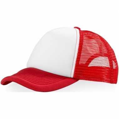 Voordelige baseballcap rood/witcarnavalskleding