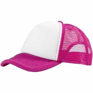 Voordelige baseballcap roze wit carnavalskleding