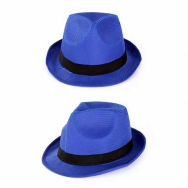 Voordelige blauwe gangster gleufhoedjescarnavalskleding