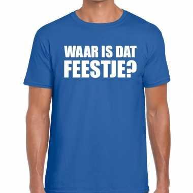 Waar is dat feestje heren t-shirt blauwcarnavalskleding