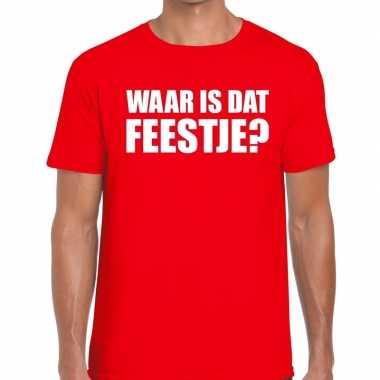 Waar is dat feestje heren t-shirt roodcarnavalskleding