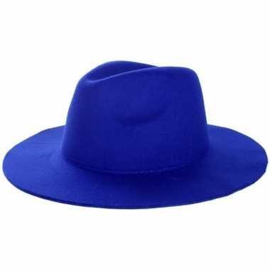 Western thema sherriff/cowboy hoed blauw voor dames/herencarnavalskle