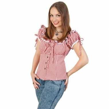 Wild west cowboy blouse dames met ploftmouwtjes rood/witcarnavalskled