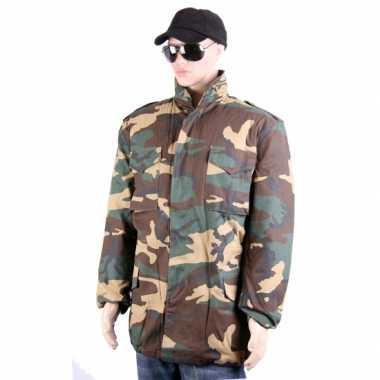 Winterjas in camouflage print