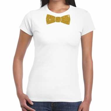 Wit fun t-shirt met vlinderdas in glitter goud damescarnavalskleding