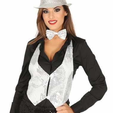 Wit gilet met glitters/pailletten voor damescarnavalskleding