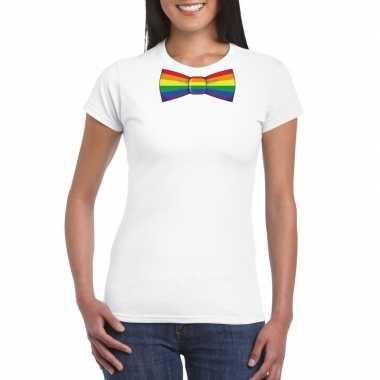 Wit t-shirt met regenboog vlag strikje damescarnavalskleding