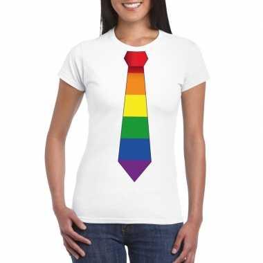 Wit t-shirt met regenboog vlag stropdas damescarnavalskleding