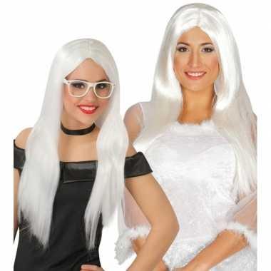Witte engel pruik voor dames carnavalskleding