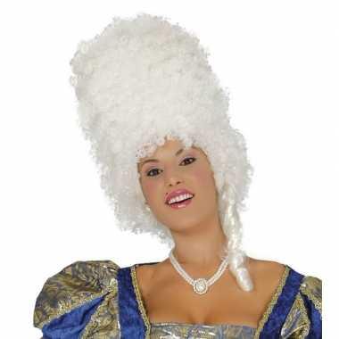 Witte hoge krullen pruik voor damescarnavalskleding