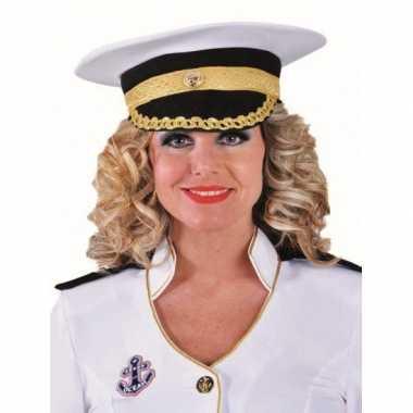Witte luxe kapitein pet carnavalskleding