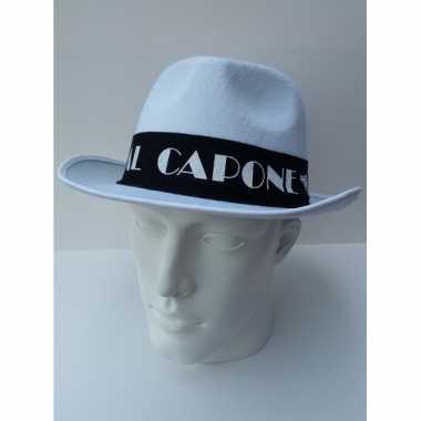 Witte maffia hoed met zwarte bandcarnavalskleding