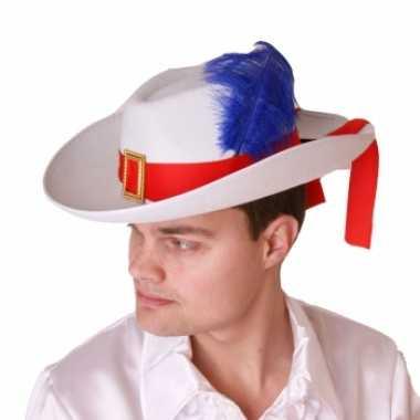 Witte musketier hoed met band en veercarnavalskleding
