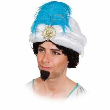 Witte sultan hoed met veer carnavalskleding