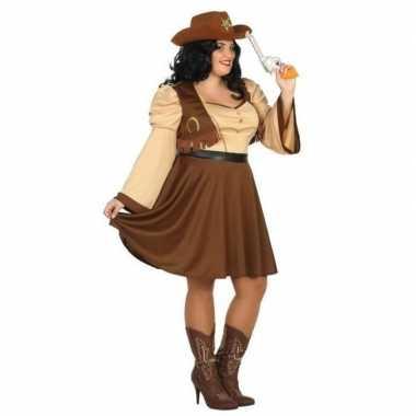 Xxl carnaval/feest cowgirl verkleedoutfit bruin voor damescarnavalskl