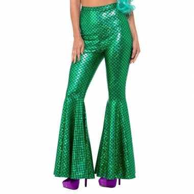 Zeemeerminnen flair flared broek groen voor damescarnavalskleding